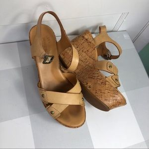 Kork-Ease Leather Tan Wedge Sandals